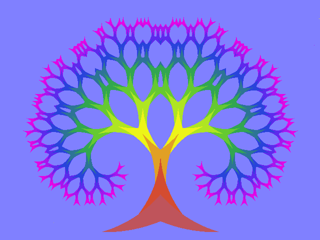 Fractal julius tree in color made with the fractal imaginator fi
